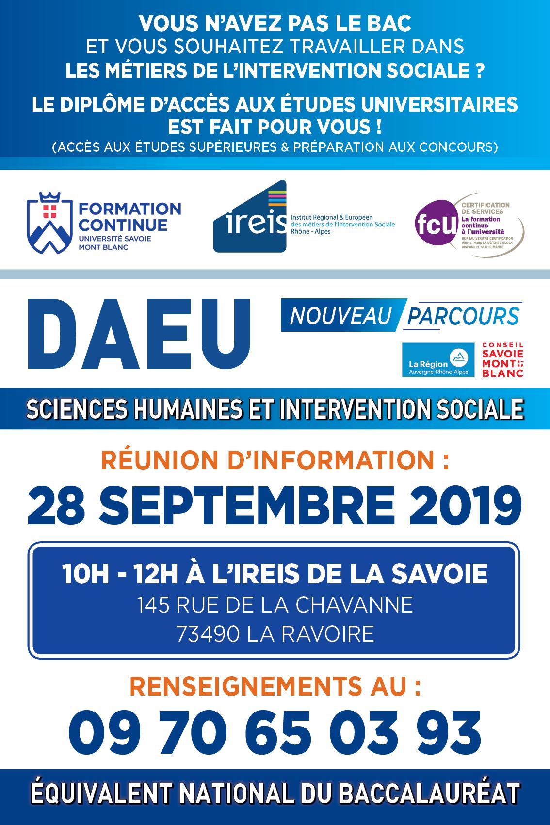 DAEU Travailleur Social DAEU Métiers du social DAEU Intervention Sociale Formation équivalent Bac Annecy Chambéry IREIS Savoie Haute-Savoie