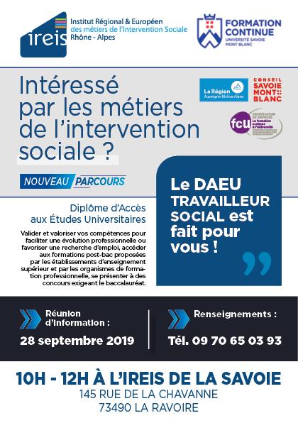 Flyer DAEU Travailleur Social DAEU Métiers du social DAEU Intervention Sociale Formation équivalent Bac Annecy Chambéry IREIS Savoie Haute-Savoie