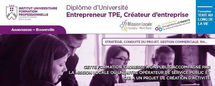 Formation Diplôme Universitaire Entrepreneur TPE Création petite et moyenne entreprise IUFP USMB