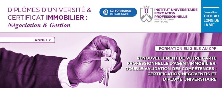 Formation Diplôme immobilier Négociation immobilière IUFC USMB Annecy Haute Savoie