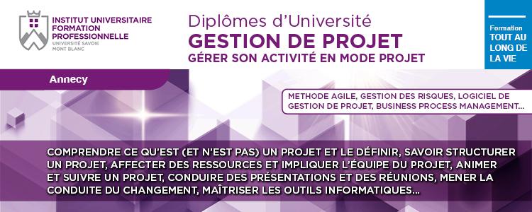 Visuel formation professionnelle Gestion de Projet IUFC Annecy