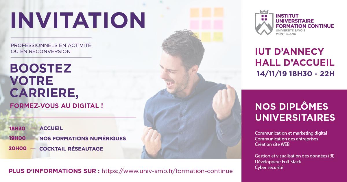 Invitation soirée d'information Formez-vous au Digital avec l'IUFP de l'USMB