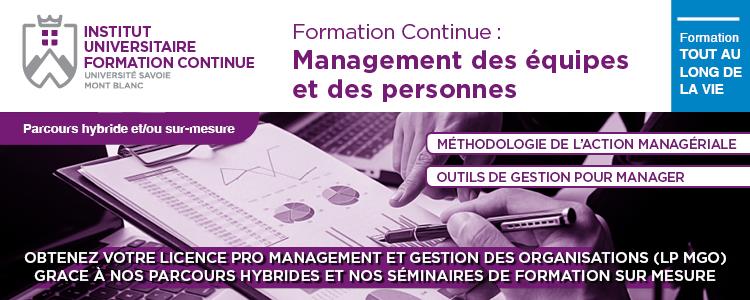 Formation Continue sur mesure en Management. Parcours Hybride Licence Professionnelle Management et Gestion des Organisations (LP MGO)