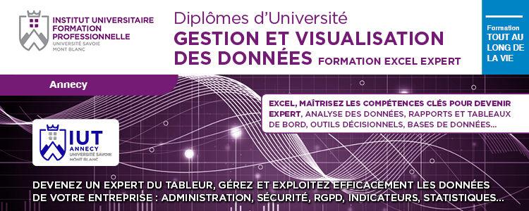 Visuel Formation Expert Excel Diplôme Universitaire Gestion et Visualisation des Données Université Savoie Mont Blanc