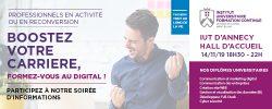 Visuel soirée d'informations les nouvelles formations professionnelles métiers du numérique à l'Université Savoie Mont Blanc.