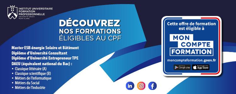 Les formations éligibles au CPF - Institut Universitaire de Formation Professionnelle - IUFP